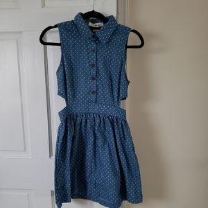 Denim polka dot dress